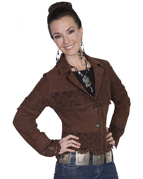 Scully Leatherwear Lamb Suede Lace Panel Jacket