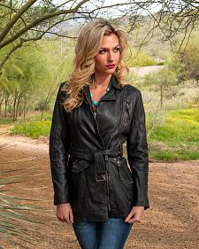 Scully Leatherwear Washed Lamb Leather Adjustable Belt Coat