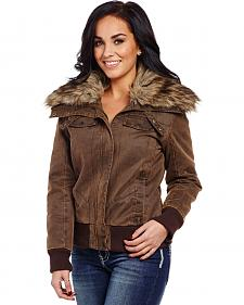 Cripple Creek Women's Banded Bottom Fur Collar Jacket