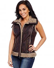Cripple Creek Women's Faux Leather Fur Trim Vest
