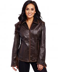 Cripple Creek Women's Laced and Fringe Leather Jacket
