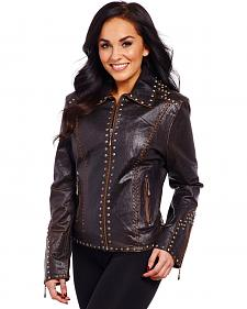 Cripple Creek Women's Studded & Laced Leather Jacket