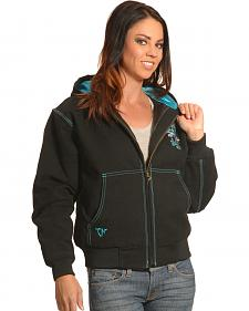 Cowgirl Hardware Women's Black Canvas Cross Jacket