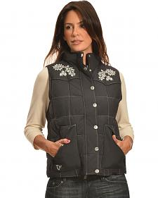 Cowgirl Hardware Women's Black Quilted Floral Vest