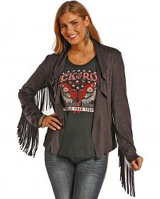 Powder River Outfitters Women's Fringe Short Microsuede Jacket