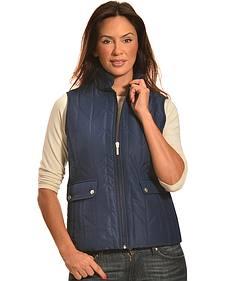 Jane Ashley Women's Navy Zig Zag Snap Vest