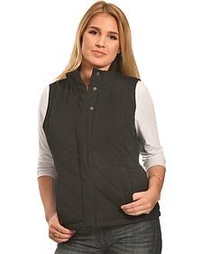 Jane Ashley Women's Black Faux Suede Quilted Vest