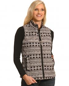 Jane Ashley Women's Black Quilted Southwestern Print Vest