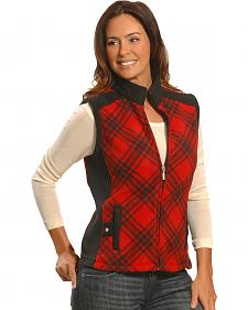 Jane Ashley Women's Red and Black Plaid Polar Fleece Vest