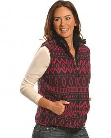 Jane Ashley Women's Red and Black Print Polar Fleece Vest