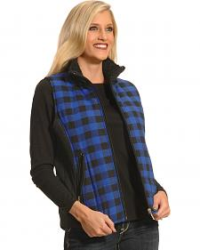 Jane Ashley Women's Blue and Black Plaid Flannel Vest