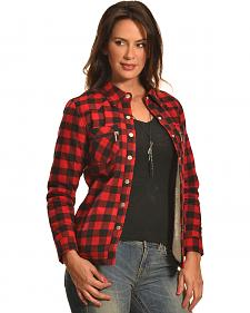Jane Ashley Women's Red Buffalo Plaid Sherpa Jacket