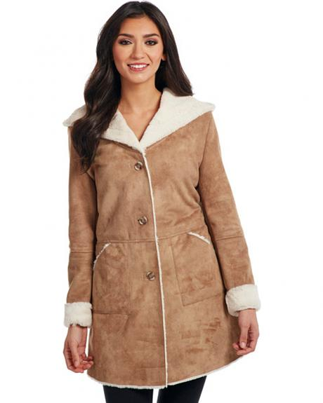Cripple Creek Women's Button Front Faux Shearling Hooded Coat