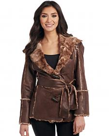 Cripple Creek Women's Brown Faux Fur Lining Waist Coat