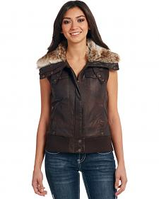 Cripple Creek Women's Brown Faux Fur Lining Aviator Vest