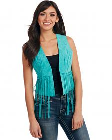 Cripple Creek Women's Turquoise Hand-Laced and Fringed Leather Vest