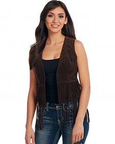 Cripple Creek Women's Mocha Brown Hand-Laced and Fringed Leather Vest