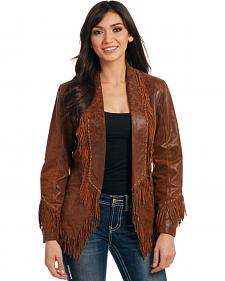 Cripple Creek Women's Studded Open Front Fringe Leather Jacket
