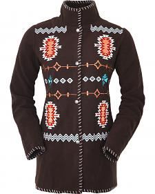 Outback Trading Company Women's Chocolate Aztec Fleece Jacket