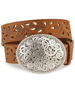 Tony Lama Floral Cutout Leather Belt