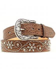 Ariat Croc Print Floral Studded Leather Belt