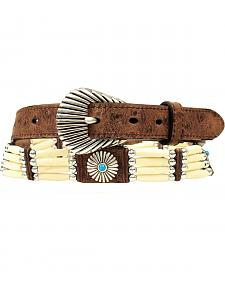 Nocona Bone Beaded Concho Ostrich Print Leather Belt