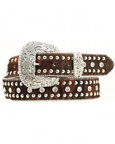Nocona Hair-on-Hide Rinestones & Studs Belt - Plus 46""