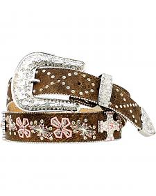 Cross Embroidered Rhinestone Cross Concho Belt
