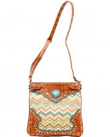 Blazin Roxx Chevron Heart Concho Crossbody Bag