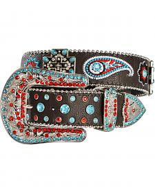 Blazin Roxx Cross Concho Floral & Paisley Embroidered Belt