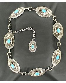 Ariat Oval Turquoise Concho Chain Belt