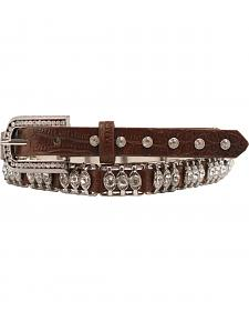 Nocona Tooled Leather Crystal Metal Bar Belt