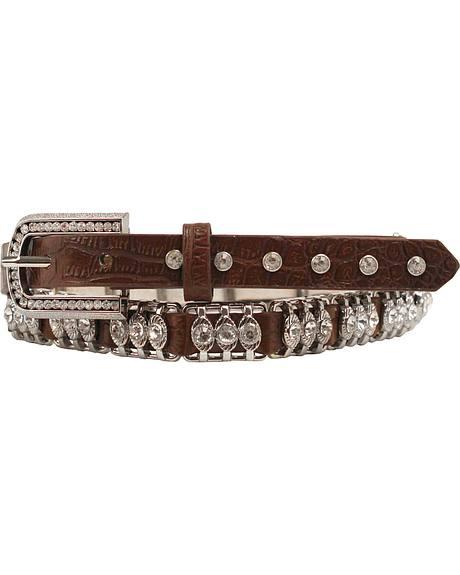 Nocona Tooled Leather Crystal Metal Bar Belt