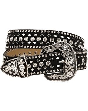 Nocona Rhinestone Studded Suede Leather Western Belt