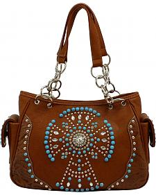 Blazin Roxx Faux Turquoise Beaded Cross Satchel