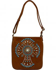 Blazin Roxx Faux Turquoise Beaded Cross Messenger Bag