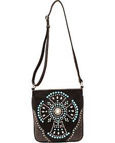 Blazin Roxx Faux Turquoise Beaded Cross Messenger Bag