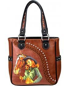 Montana West Cowgirl Collection Embellished PinUp Bucket Handbag