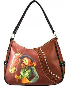 Montana West Cowgirl Collection Embellished PinUp Hobo Handbag