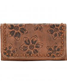 American West Women's Flower Child Leather Tri-Fold Wallet