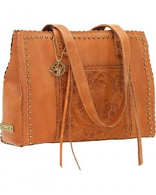 American West Women's Flower Child Tooled Leather Tote Bag