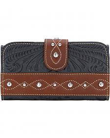 American West Women's Over the Rainbow Leather Tri-Fold Clutch Wallet