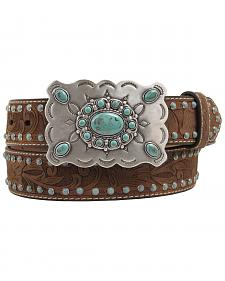 Nocona Distressed Embossed Turquoise Brad Buckle Belt