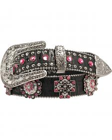 Blazin Roxx Pink Crystal Concho Cross Belt