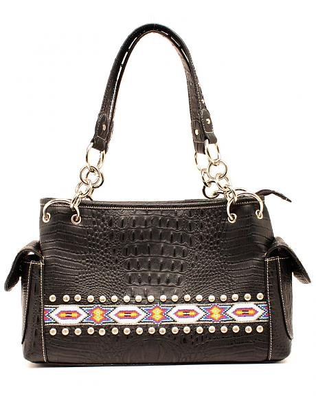 Blazin Roxx Bead Ribbon Black Satchel