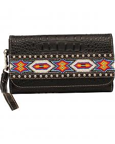 Blazin Roxx Bead Ribbon Black Clutch Wallet