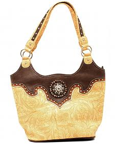 Blazin Roxx Tan Embossed Bucket Shoulder Bag