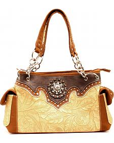 Blazin Roxx Tan and Brown Embossed Satchel