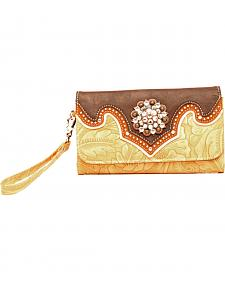 Blazin Roxx Tan and Brown Embossed Clutch Wallet