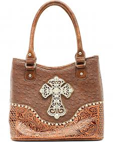 Blazin Roxx Ostrich Print Crosses Shoulder Bag